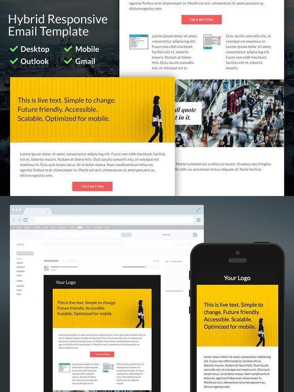 Hybrid Responsive Email Template Pinterest Responsive Email And - Hybrid email template