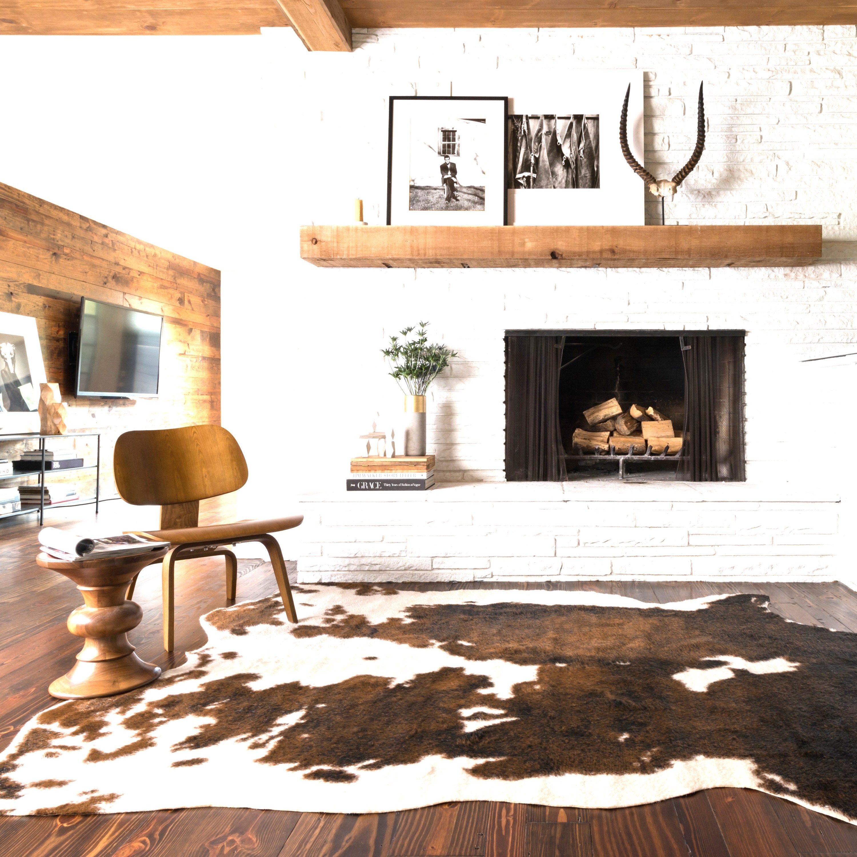 Tricolour Cowhide Rug With Wood Accent Furniture And Wood Panel Wall  (scheduled Via ...
