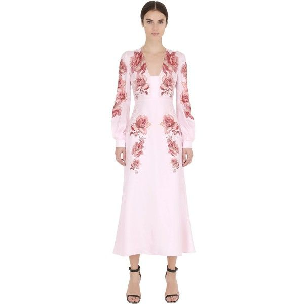 FRANCESCO SCOGNAMIGLIO Printed & Embellished Silk Twill Dress ($2,700) ❤ liked on Polyvore featuring dresses, pink, pink puff sleeve dress, vneck dress, floral dress, floral v neck dress and floral print dress