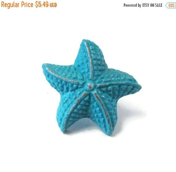 SALE Starfish Knobs / Nautical Decor / Blue Starfish Kitchen Door Handles /  Nautical Home Decor