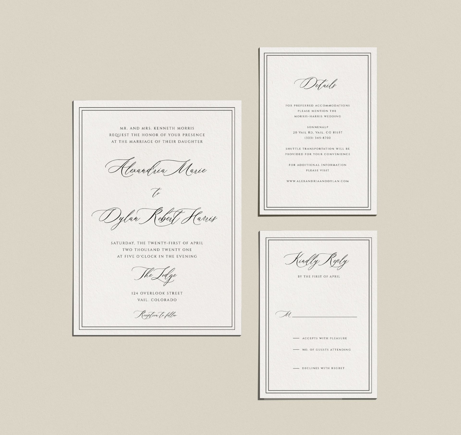 Traditional Wedding Invitation Templates Kit – 4 Piece Collection