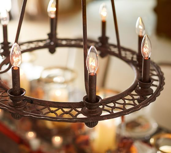 Ornate Iron Ring Chandelier Pottery Barn For The Home Pinterest Chandeliers And