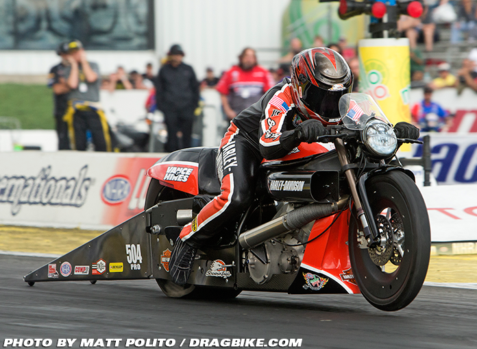 Andrew Hines on his drag bike