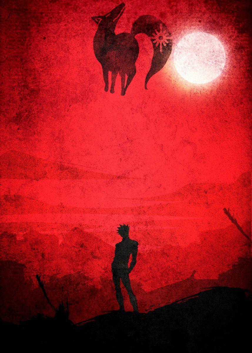 Red Ban Metal Poster Print Anm Diz Displate Anime Wallpaper Ban Anime Anime Wallpaper Iphone