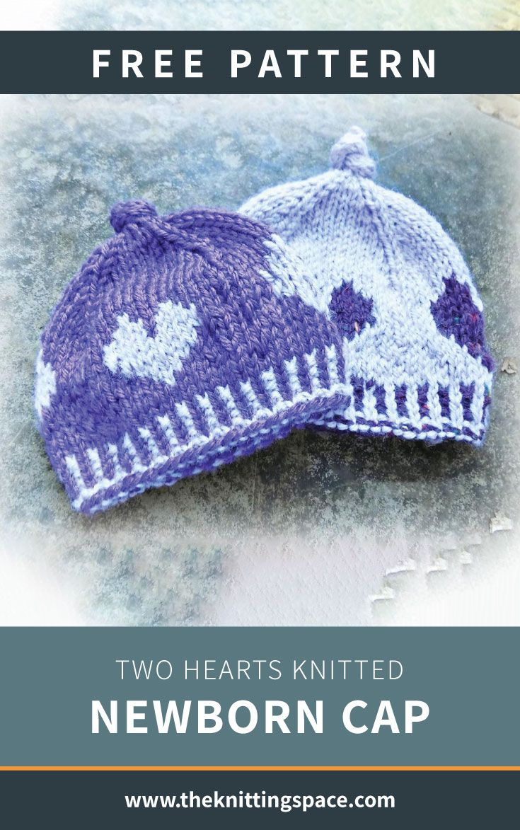 Photo of Two Hearts Knitted Newborn Cap [FREE Knitting Pattern]