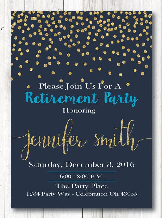Blue and Gold Retirement Invitation Gold Glitter Retirement – Retirement Party Invitations Ideas