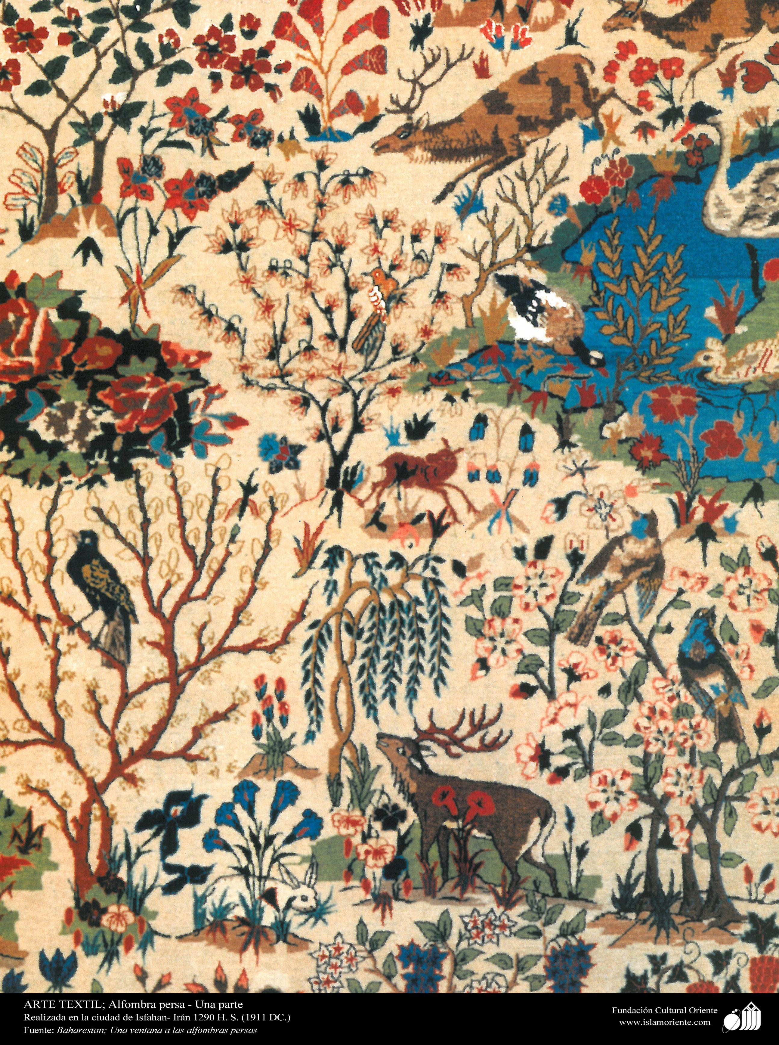 Una parte de alfombra persa realizada en la ciudad de Isfahan – Irán en 1911 | Galería de Arte Islámico y Fotografía
