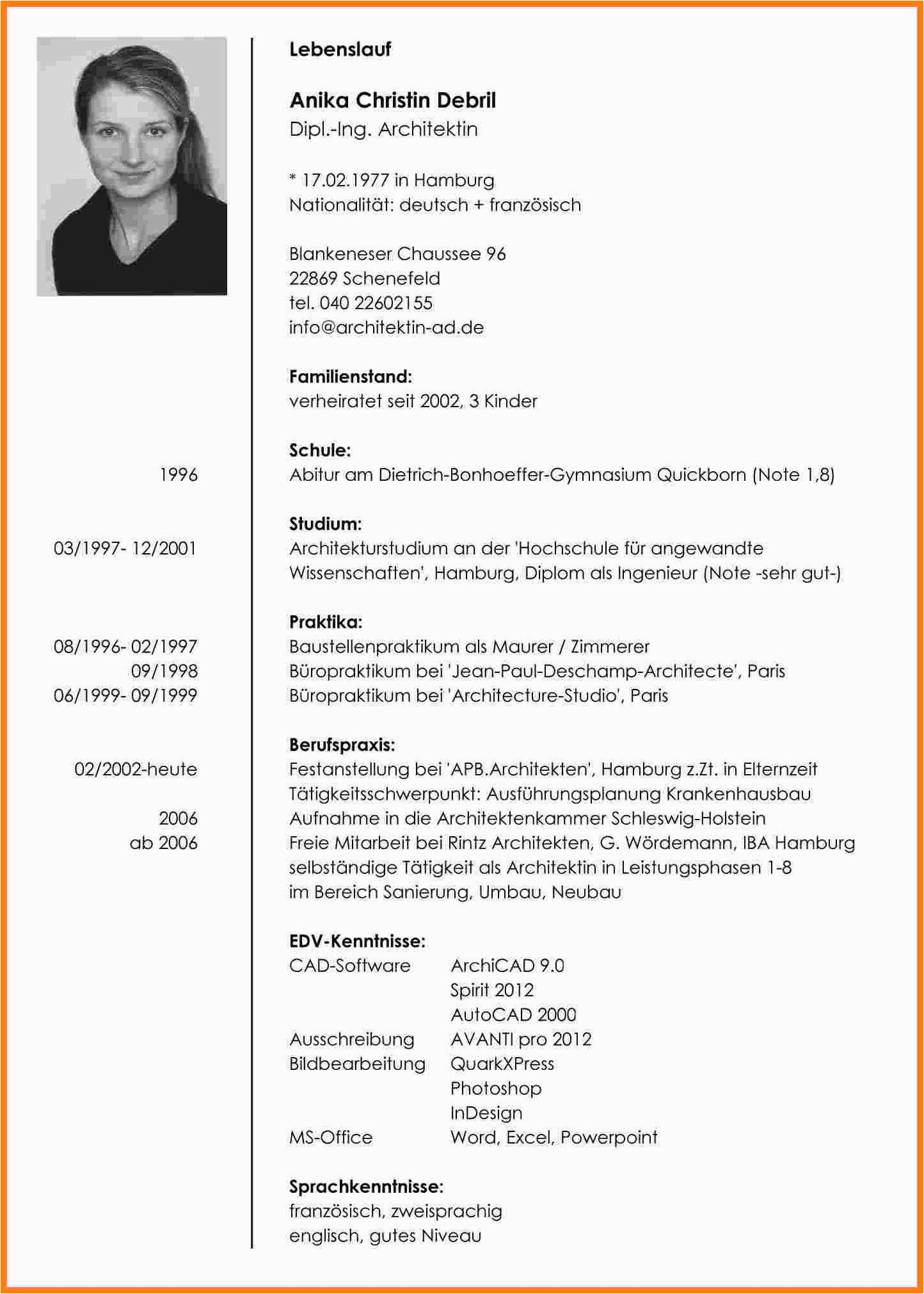 Objective Lebenslauf Deutsch