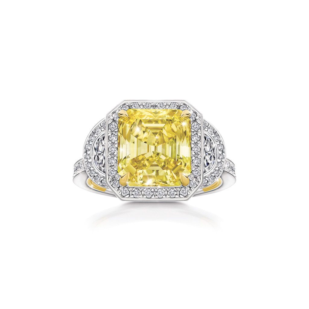 Lucette Yellow Diamond Ring Handcrafted Fine Jewelry Pink