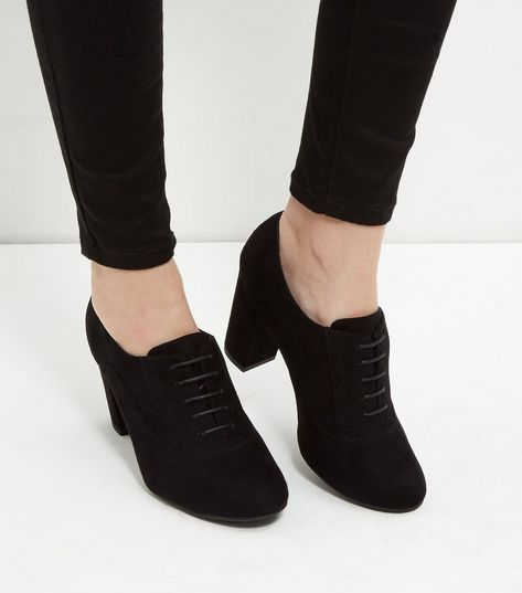 03e654b5367dc Wide Fit Black Suedette Lace Up Shoe Boots | Heels | Shoes, Shoe ...