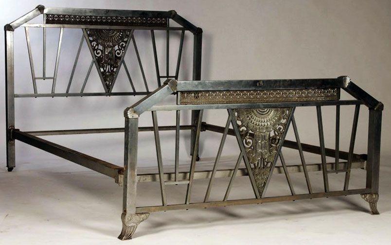 Art Deco Cadre De Lit Bronze Nickele Vers 1930 Art Deco