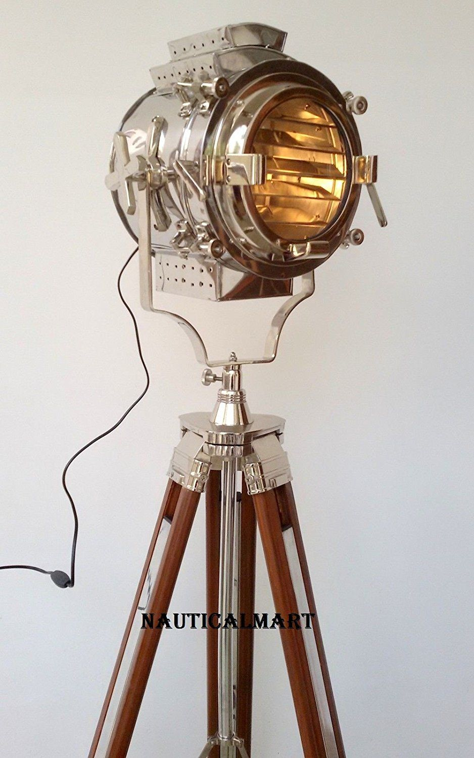 NauticalMart Hollywood SearchLight Spot Light Wooden Tripod