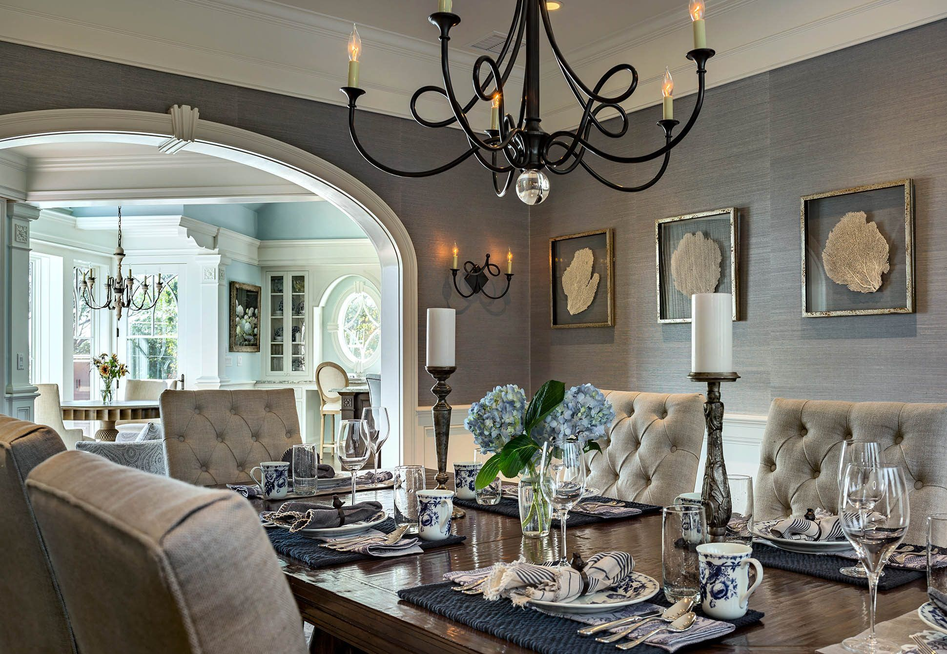 Formal Dining Room With Heirloom Mahogany Dining Table Airy Blue Grass Cloth Wallpaper And Dream Dining Room Grass Wallpaper Dining Room Mahogany Dining Table