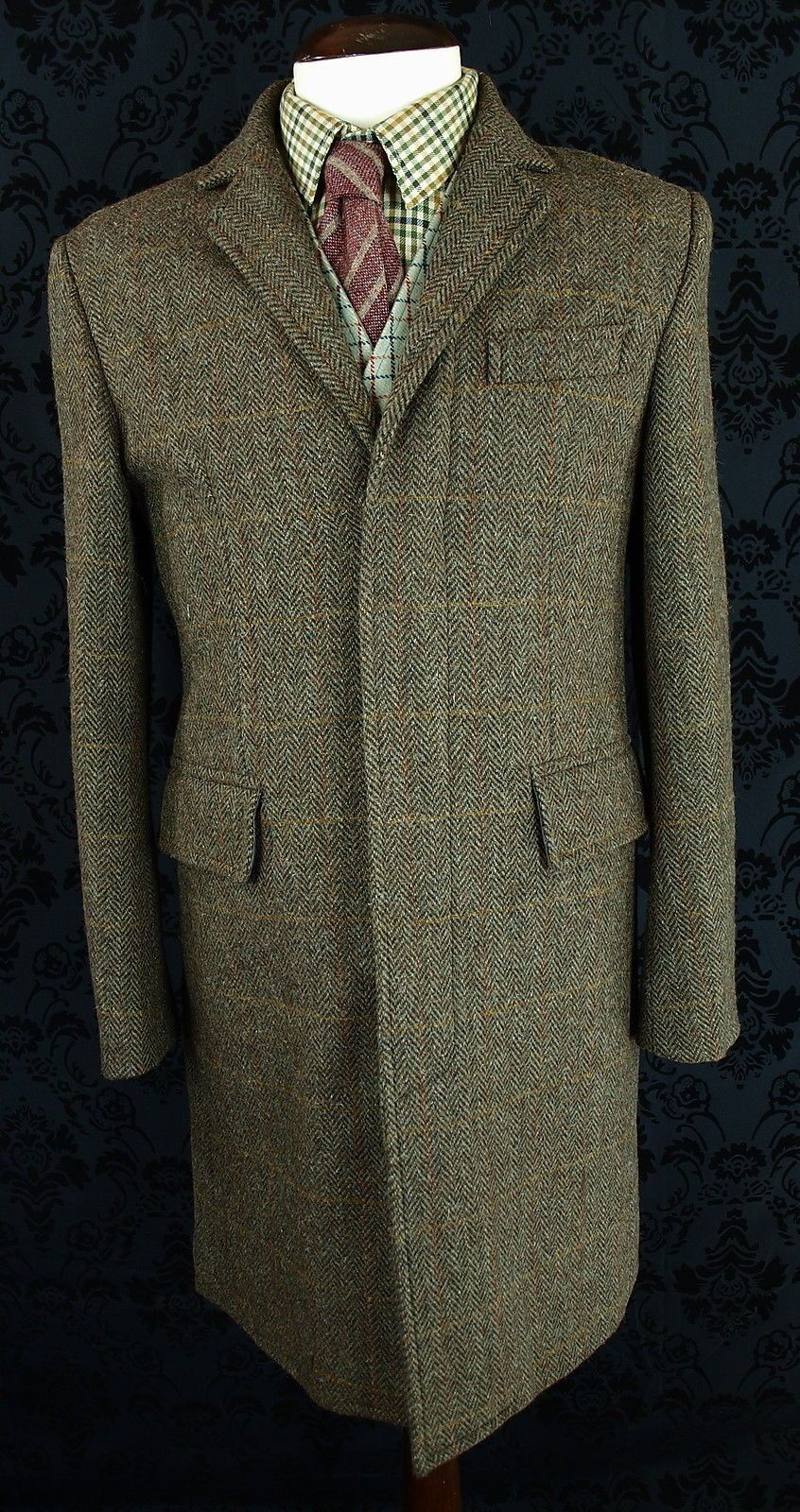 Superb Mens Harris Tweed John Rocha Modern Overcoat Peacoat Coat 39 40 Medium Mens Winter Coat Overcoats Well Dressed Men