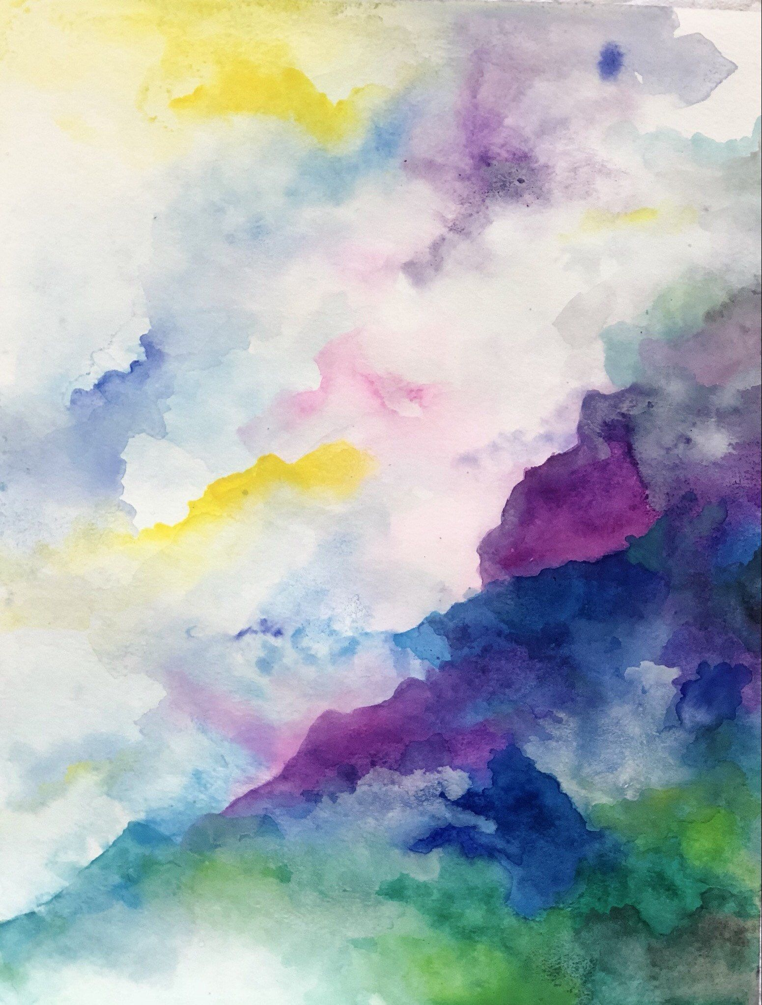 Bright Original Affordable Watercolor Painting Abstract Unique