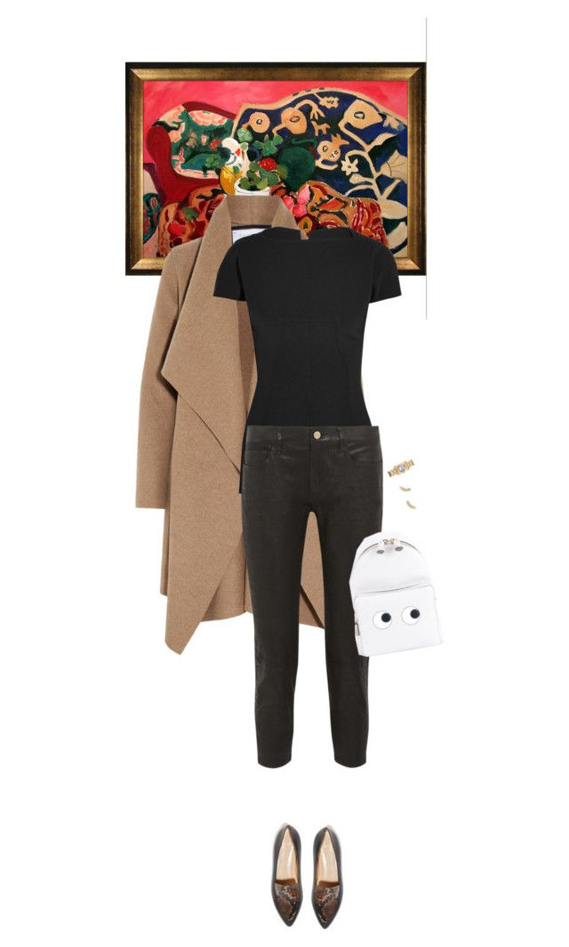 """Outfit of the Day"" by wizmurphy ❤ liked on Polyvore featuring Matisse, Harris Wharf London, Rick Owens, Frame Denim, All Tomorrow's Parties, Anya Hindmarch, Gorjana, ootd, leatherpants and alc"