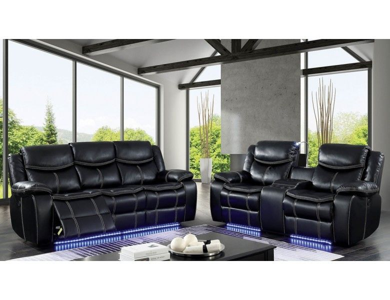 Fulton Power Recliner Sofa With Led Lights Sofa And Loveseat Set Reclining Sofa Living Room Black Reclining Sofa