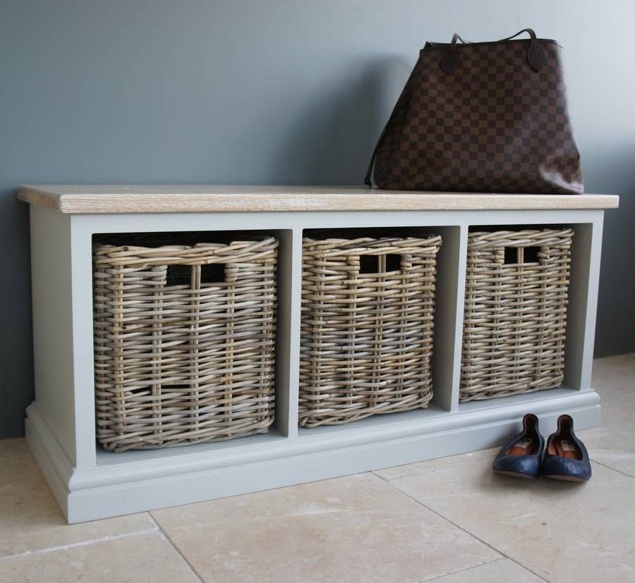Storage Bench With Limed Oak Top And Wicker Baskets