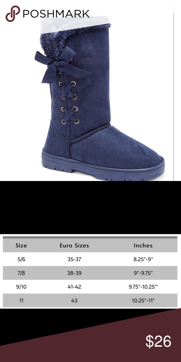"e4792feac Navy Corset Winter Boots Slip your feet into all day cozy comfort with this  fuzzy boot with corset and bow details, 10"" shaft / 16"" circumference."