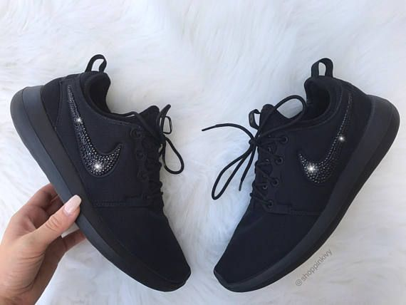Swarovski Nike Brand New in Box Authentic Blinged Nike Roshe Two Shoes. Nike  Swoosh is customized with fabulous BLACK Swarovski Crystal Rhinestones! 44e7179e51cd