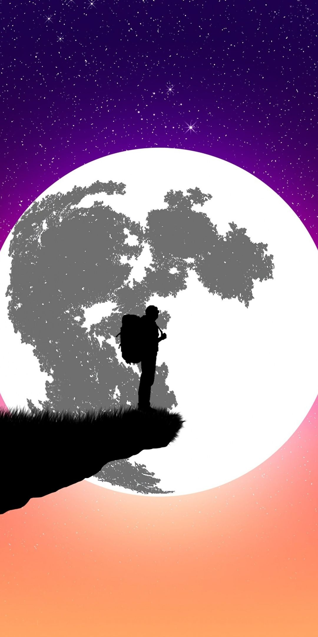Silhouette Moon Man Digital Art Wallpaper Desenhos De Anime