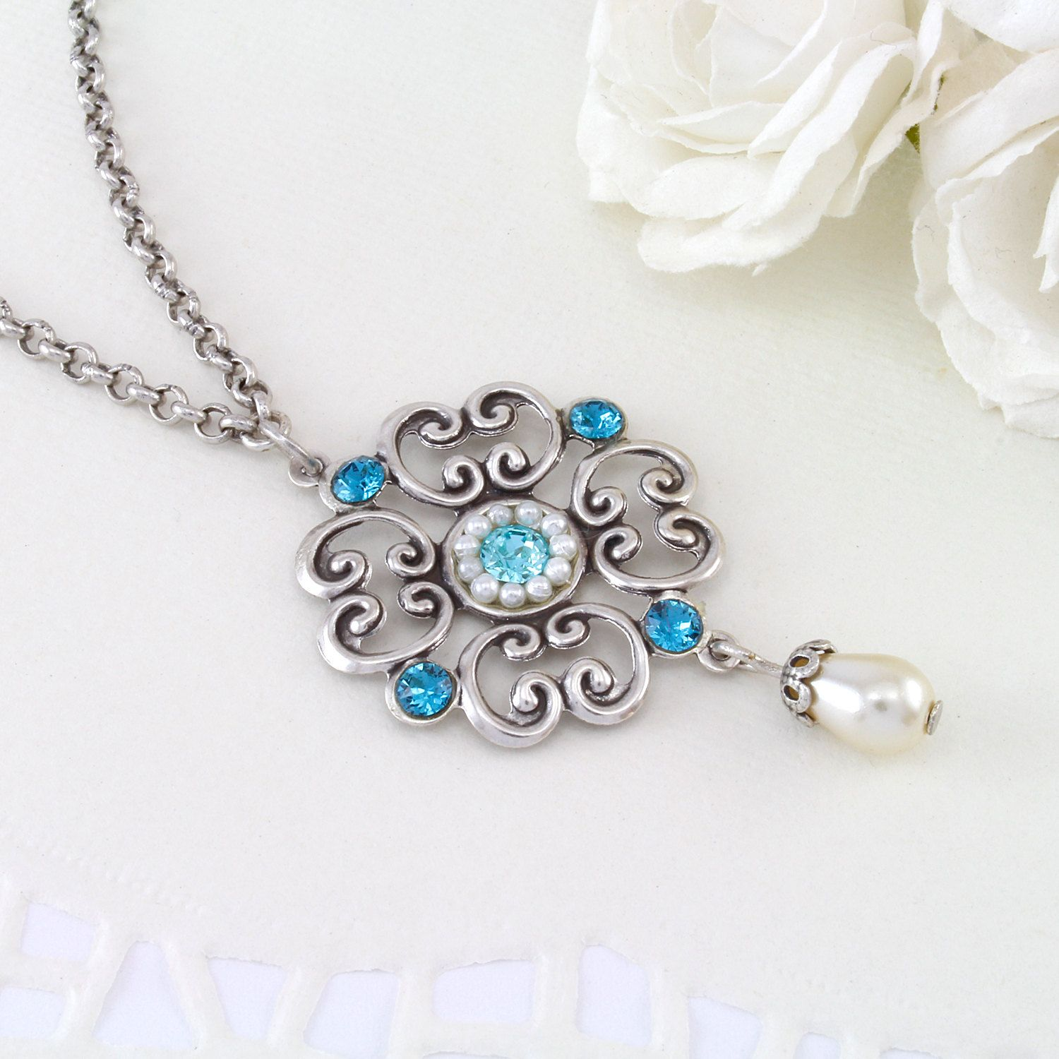 25 OFF Blue wedding jewelry Blue wedding necklace Blue wedding