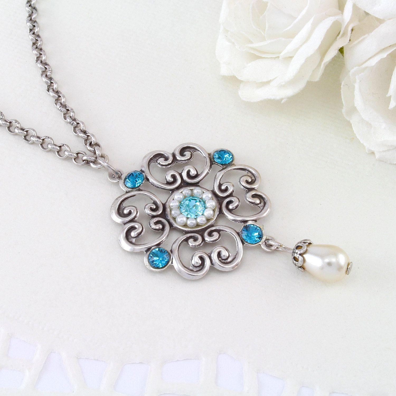 25 OFF Blue wedding jewelry Blue wedding necklace Blue wedding