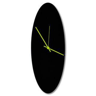 Adam Schwoeppe Blackout Ellipse Clock Minimalist Modern Black Wall Decor Blackout Black Ellipse Clock Aluminum Metal Clock Minimalist Clocks Metal Art