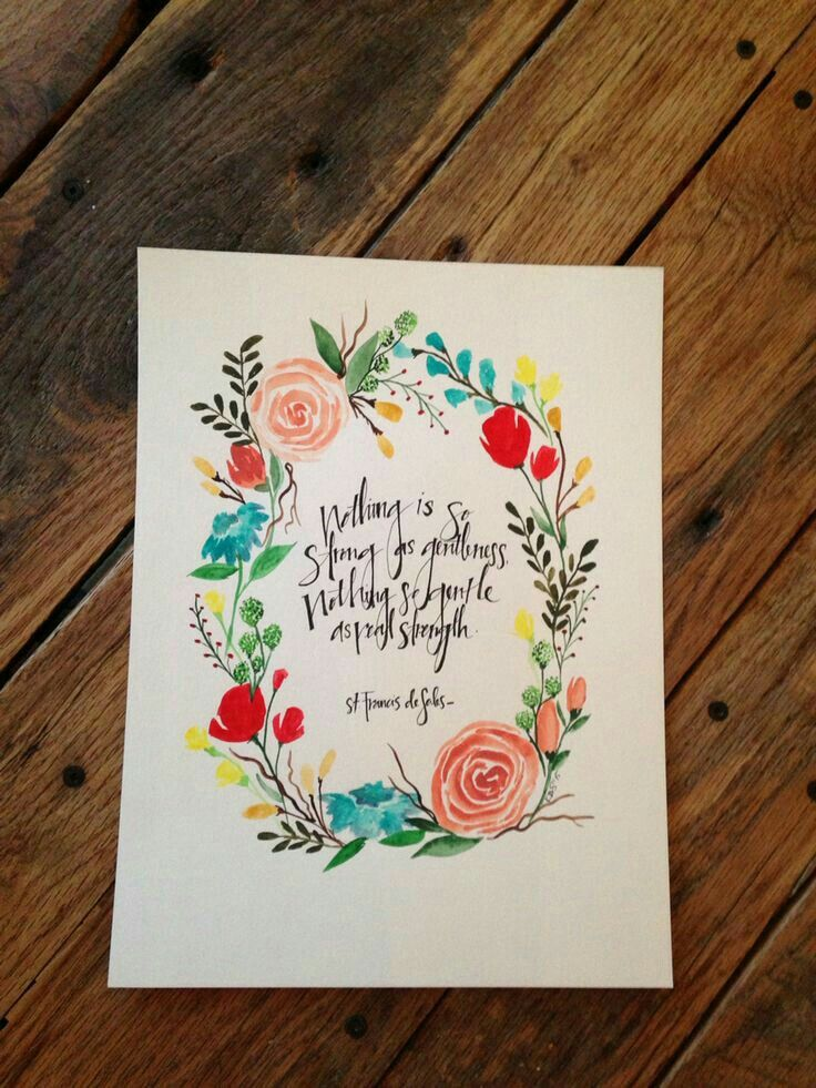 Kody Stewart Handmades Original Watercolor Floral Wreath With Custom Quote