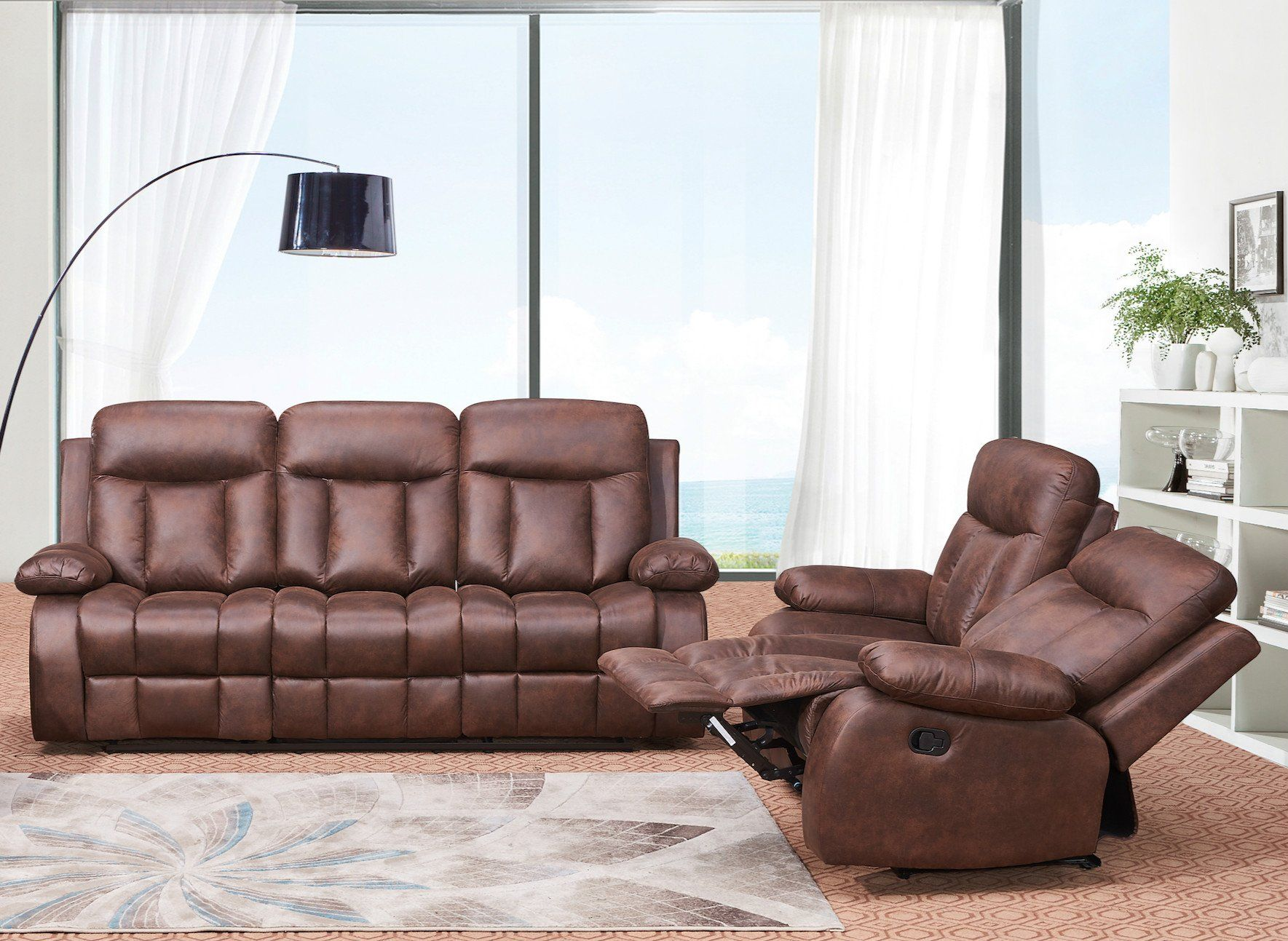 Betsy furniture 2pc microfiber fabric recliner set living room set in brown sofa loveseat chair pillow top backrest and armrests 802832 you can get