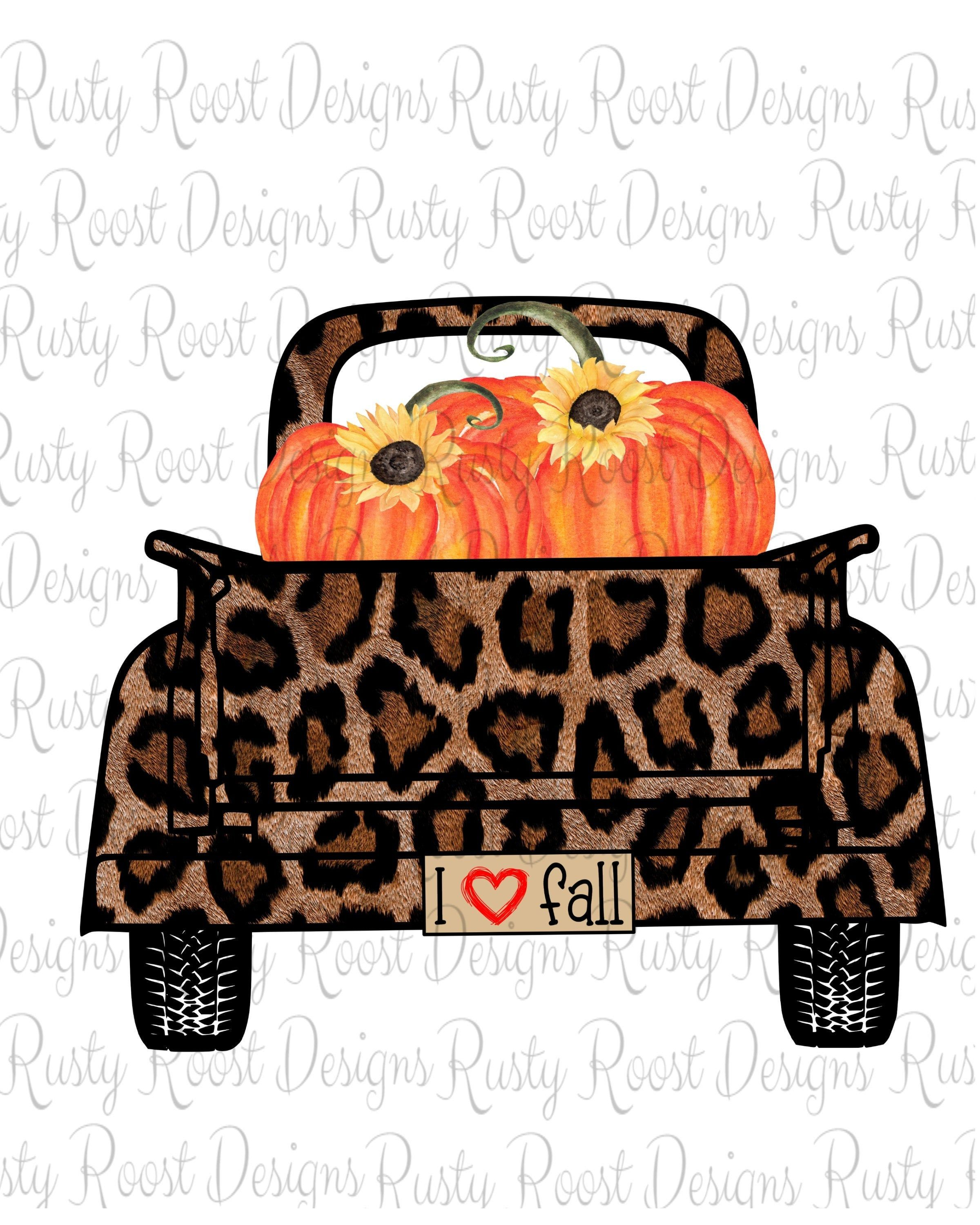 I love fall png,leopard truck,fall sublimation designs