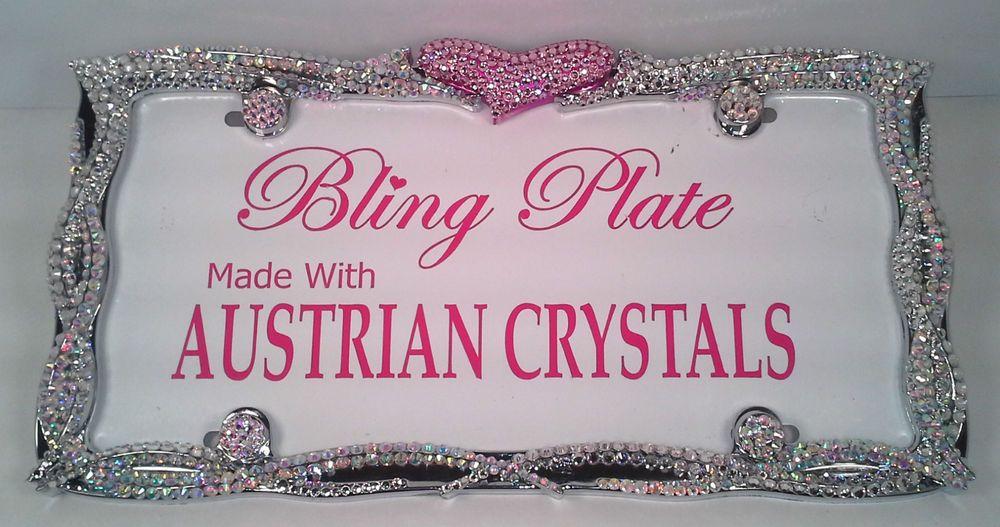 ROCKER HEART Crystal Bling License Plate Frame Austrian Crystals ...