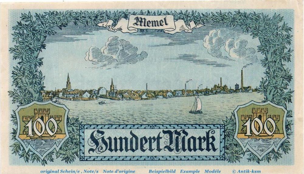 1922 deutsche Nebengebiete Notgeld Memel , 100 Mark