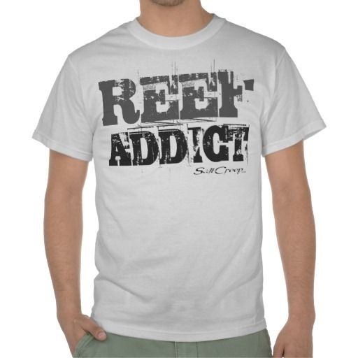 Reef Addict White Tee.  All shirts available in many different styles and colors. www.saltcreep.com  #aquarium #tropicalfish #reef #coral #saltwater #freshwater #fish