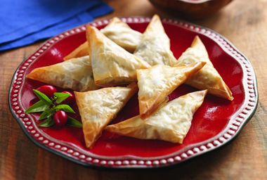 Hosting a holiday party? Try this delicious recipe for turkey and cranberry triangles.  Your guests will love them!