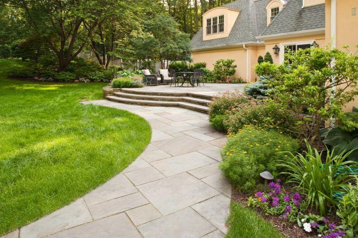 Gartengestaltung Mit Stein Garten Gestalten Vorgarten Gestalten Mit Steinen  Steinplaten Verlegen