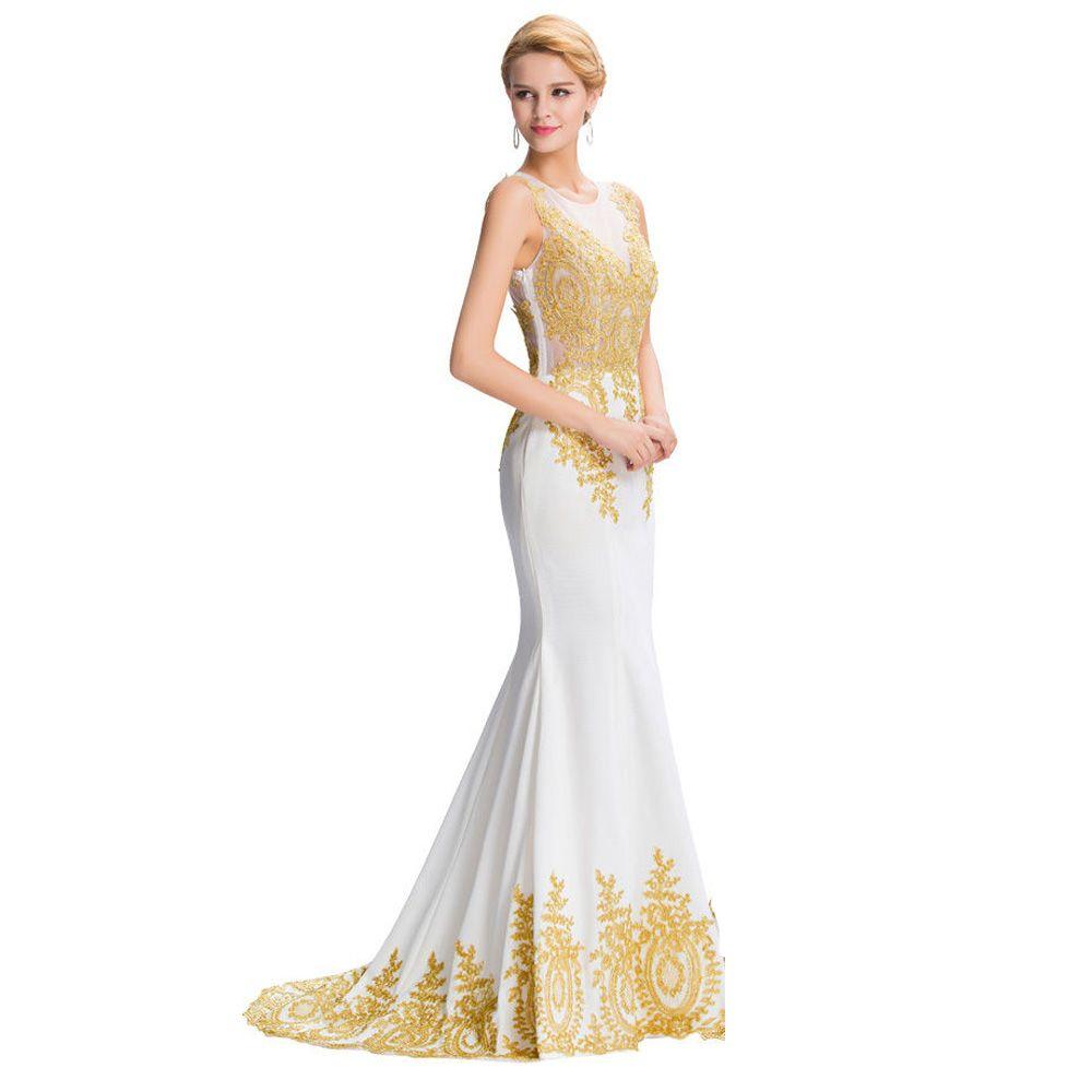 Long gold lace appliques see through dubai arabic party formal dress