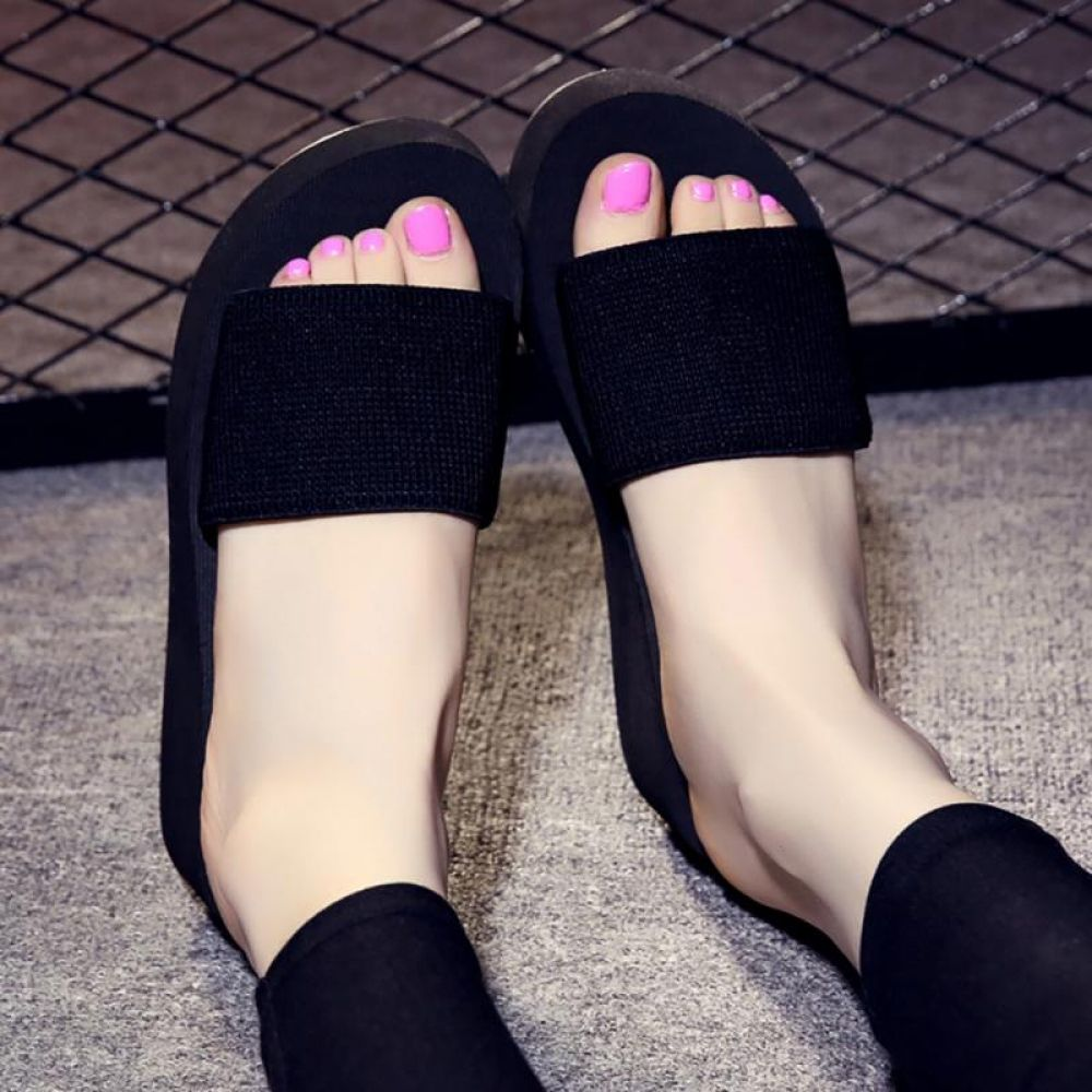 4a1515594fb0e 2018 Summer Woman Shoes Platform bath slippers Wedge Beach Flip Flops High  Heel Slippers For Women Black EVA Ladies Shoes Price  9.95   FREE Shipping    ...