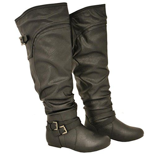 Twisted Women's Shelly Wide Calf Slouchy Over the Knee Faux Leather Fashion Boot
