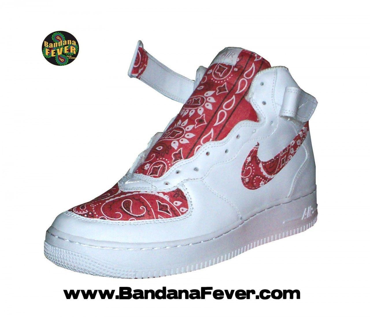 best service 00ad2 eaf19 Bandana Fever - - Bandana Fever Custom Bandana Nike Air Force 1 Mid White  Red