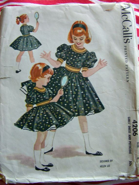 Vintage 1950\'s McCall\'s #Sewing #Pattern 4206 #Girls #dress designed ...