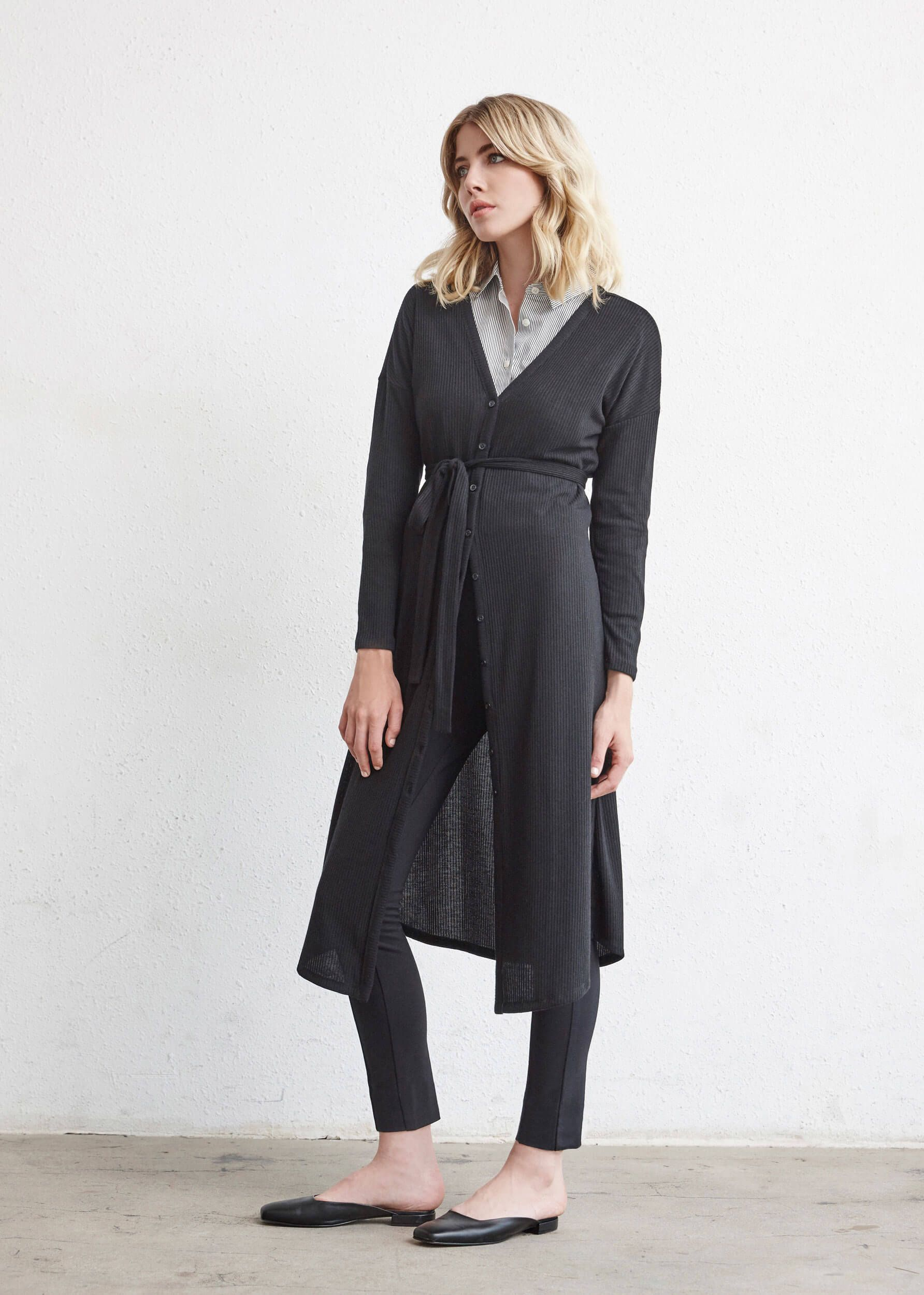 9eabfa115afc69 The Long Cardigan + The Convertible Shirt Dress + The Stretch Ankle Pant    5 pieces = 30 outfits   The Minimal Capsule #capsulewardrobe #womensfashion  ...