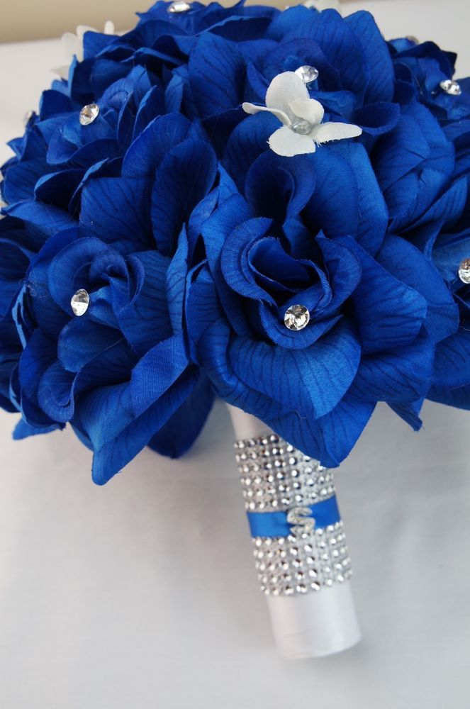 Wedding Bouquet Royal Blue Artificial Roses With A