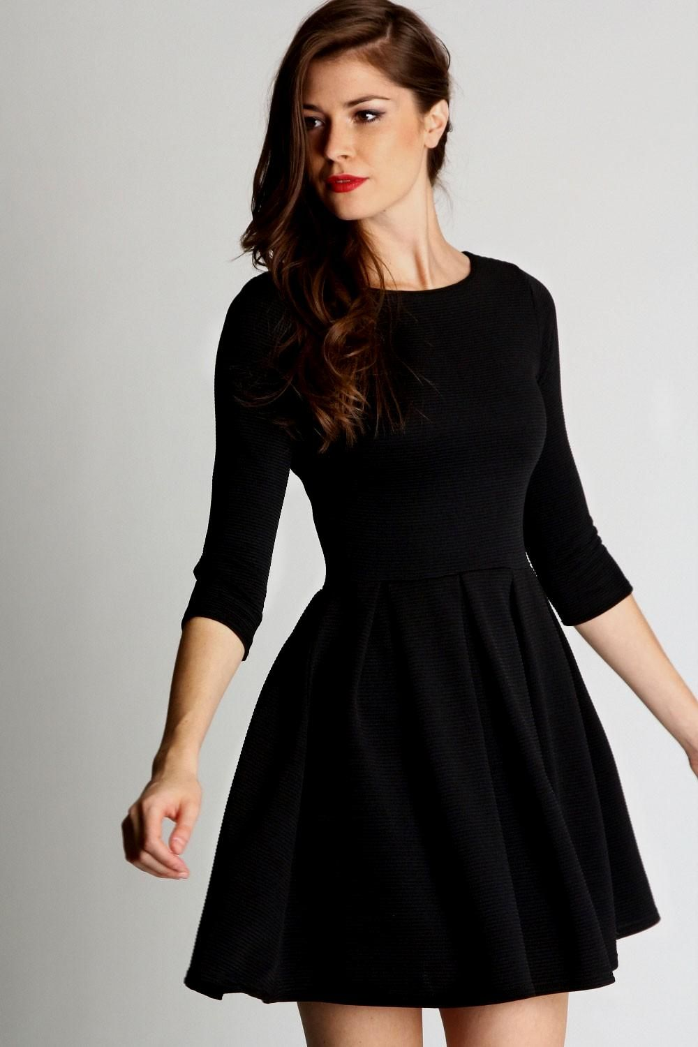 Black dress skater - Skater Dresses Fit And Flare White Black Long Sleeved Lace