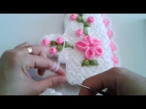 Çiçek Süslemeli Kese Lif Yapılışı Türkçe Anlatımlı Videolu