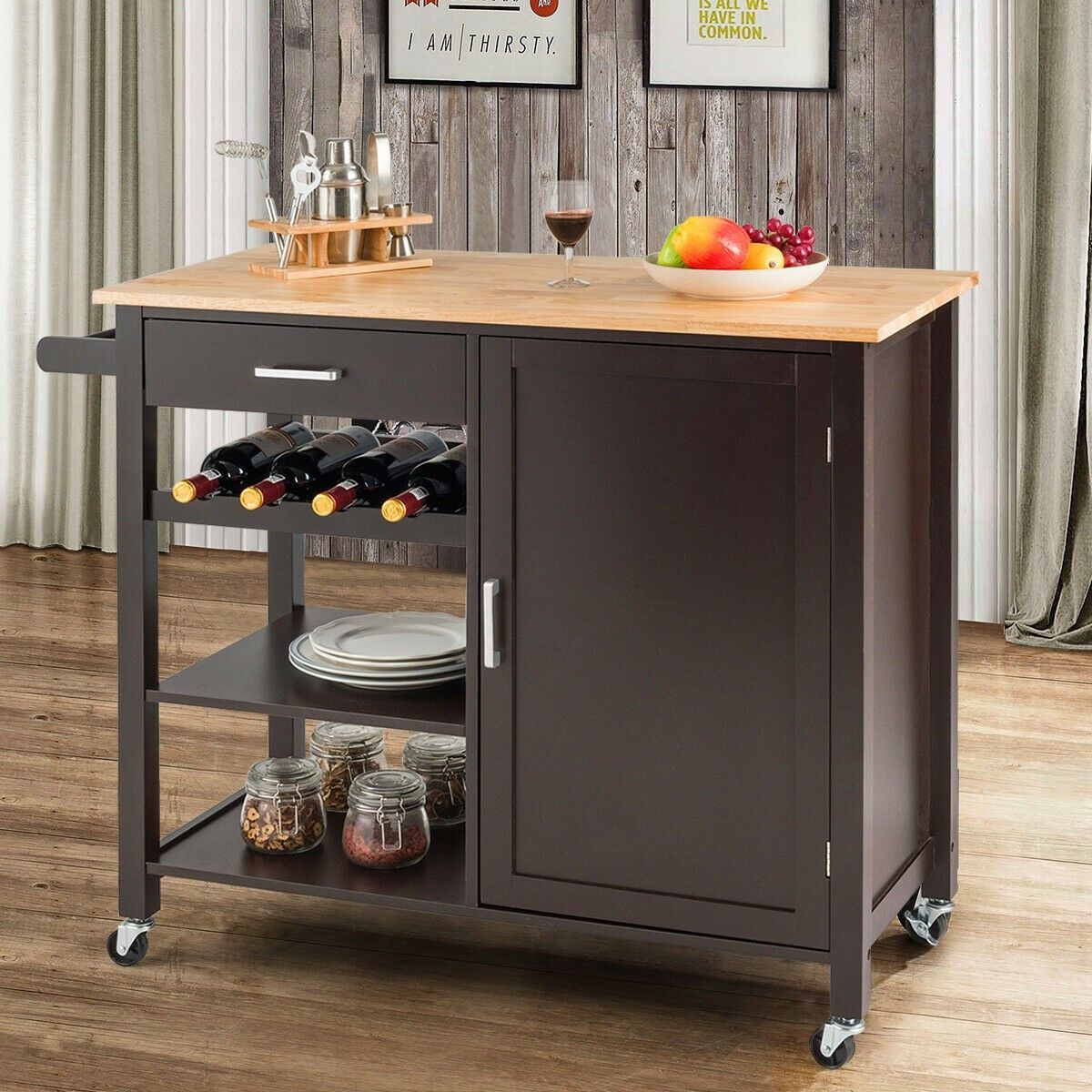 Kitchen Island Cart Rolling Serving Cart Wood Trolley Wood Kitchen Island Wooden Kitchen Kitchen Island Cart