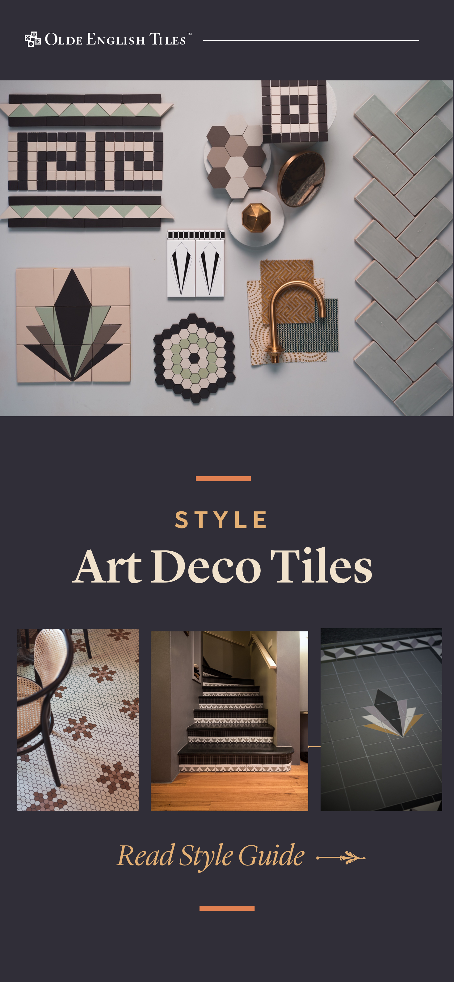 A great way to infuse Art Deco charm into a space is through period inspired tiles paired with conte