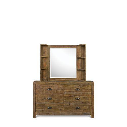 Braxton Distressed Pine Wood 6 Drawer Dresser With Landscape