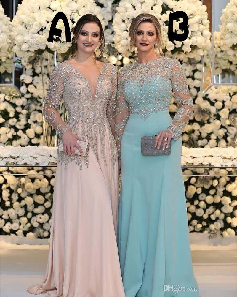 3fc7429470b 2018 Sexy Mother Of The Bride Dresses Jewel Neck Long Sleeves Silver Beaded  Lace Appliques Beaded Chiffon Plus Size Party Dress Evening Gown