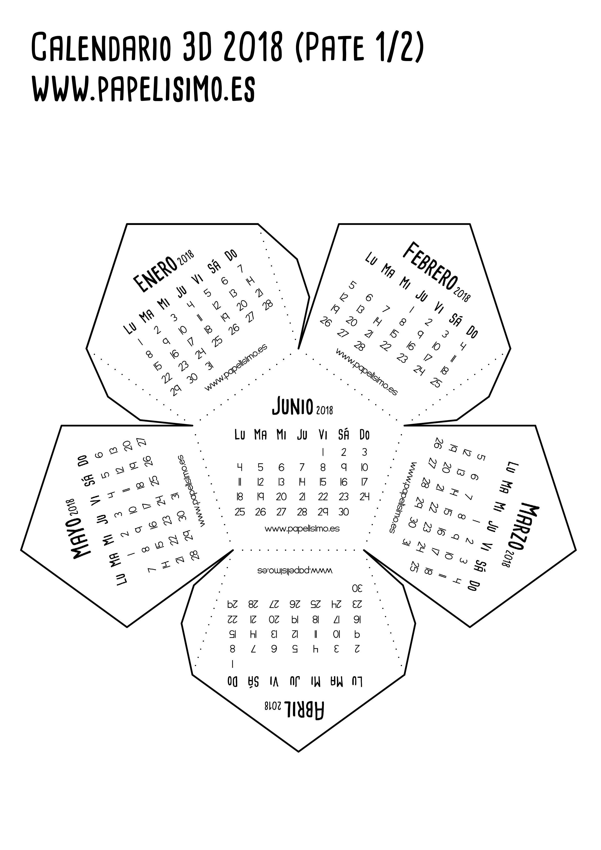 Calendario 3d 2018 pdf para imprimir-Parte 1 | Para Notas | Pinterest